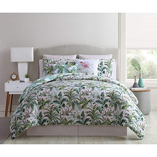 MISC 10 Piece Green Tropic Jungle King Sized Quilt Large Leaf Bedding Tropic Garden Leaf Rainforest Fern Floral Pattern