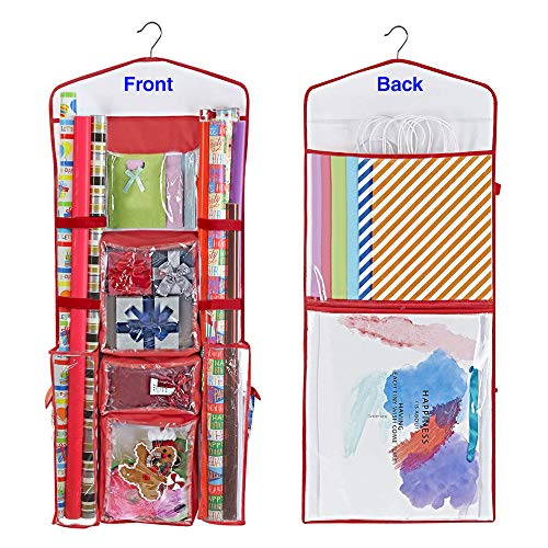 - ProPik Hanging Double Sided Wrapping Paper Storage Organizer with Multiple Front and Back Pockets Organize Your Gift Wrap, Gift Bags Bows Ribbons 40