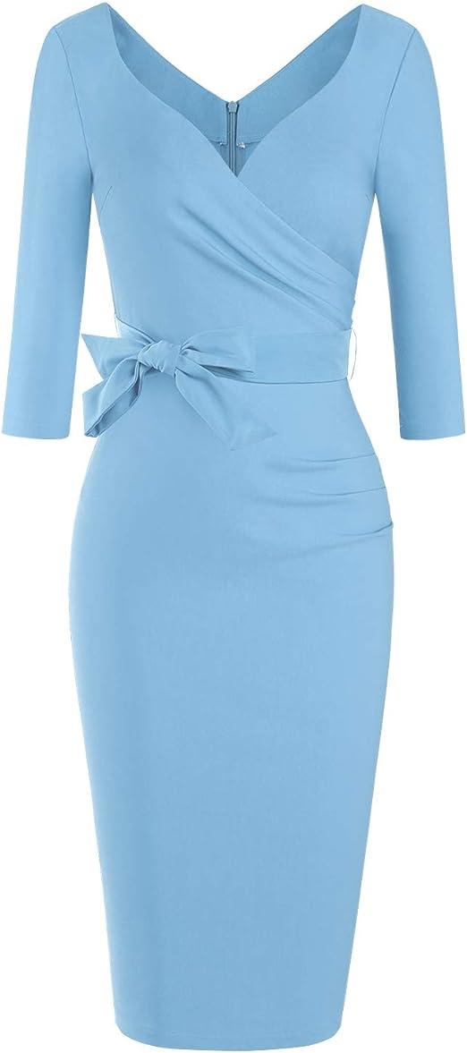 Women's Classic Retro V Neck Half Sleeve Juniors Dress