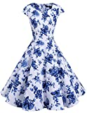 Dresstells Retro 1950s Solid Color Cocktail Dresses Vintage Swing Dress with Cap-sleeves White Blue Flower XL