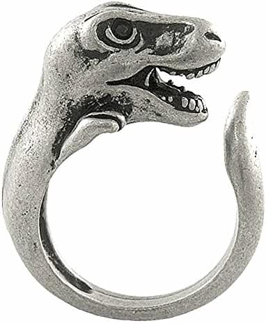 Enhanced T-Rex Dinosaur Adjustable Animal Wrap Ring Vintage Silver Tone