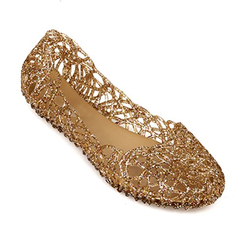 Donalworld Women Summer Breathable Jelly Nest Flat Sandals Rain Shoes Gold Asia Size 38