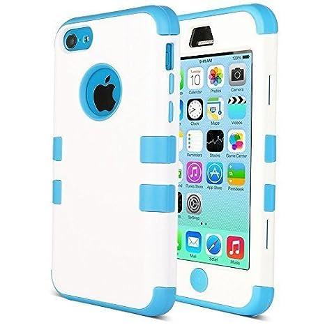 Carcasa iPhone 5c - ULAK colorido híbrida resistente para Apple iPhone 5C con Protector de pantalla y Stylus (blanco + azul)