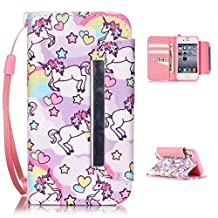 iPhone 5S Case,iPhone 5/5S 5SE Wallet Case,Kmety(TM) for iPhone 5 PU Leather 2in1 Case Flip Folio Magnetic Design[Built-in Credit Card Slots]with Painted Unicorn Pattern