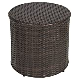 Best Choice Products Outdoor Wicker Rattan Barrel Side Table Patio Furniture Garden Backyard Pool