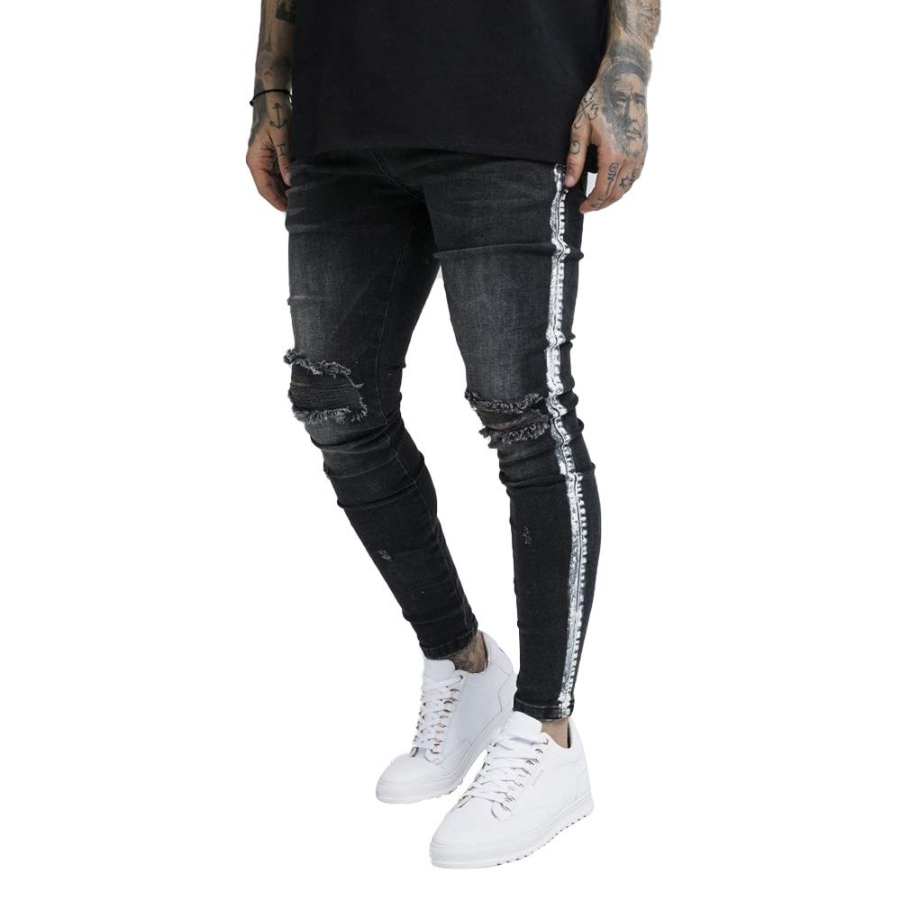 SIK SILK Paint Stripe Denim Jeans Washed Black
