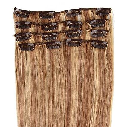 Beauty7 7 unidades 70g extensiones de clip de pelo natural pelucas cabello humano de color 8