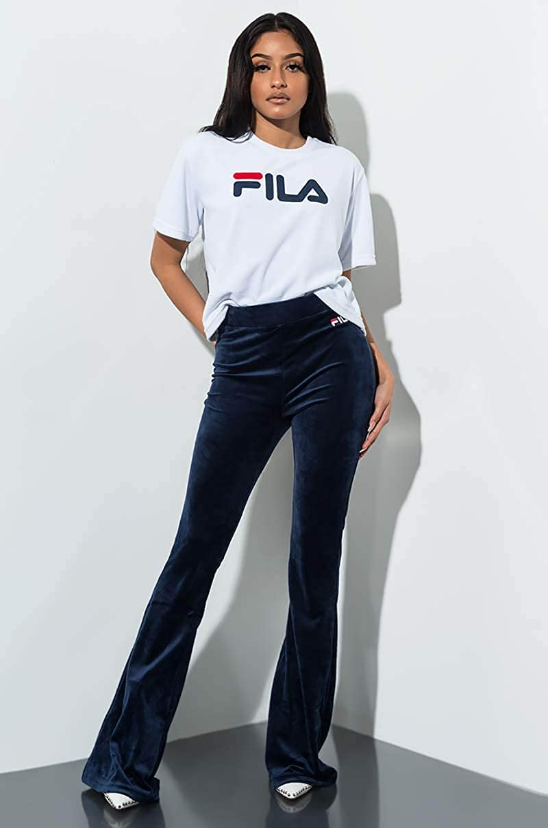 FILA Tonia High Waist Flare Leg Velour Pant
