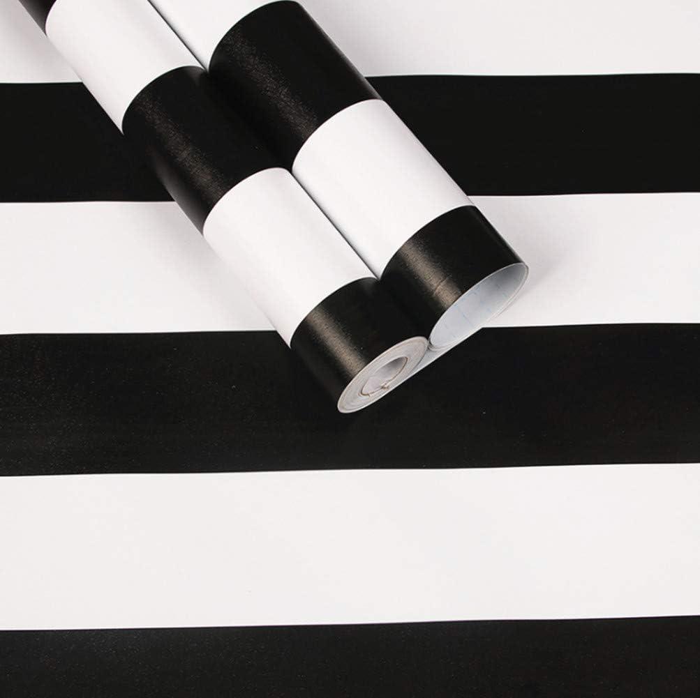Papel pintado de rayas blancas y negras rollo de 45 cm x 250 cm WDragon