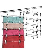 Space Saving 5 Tier Metal Skirt Hanger with Clips (3 Pack) Hang 5-on-1, Gain 70% More Space, Rubber Coated Hanger Clips, 360 Swivel Hook, Adjustable Clips Pants Hanger, Hang Slack,Trouser,Jeans,Towels