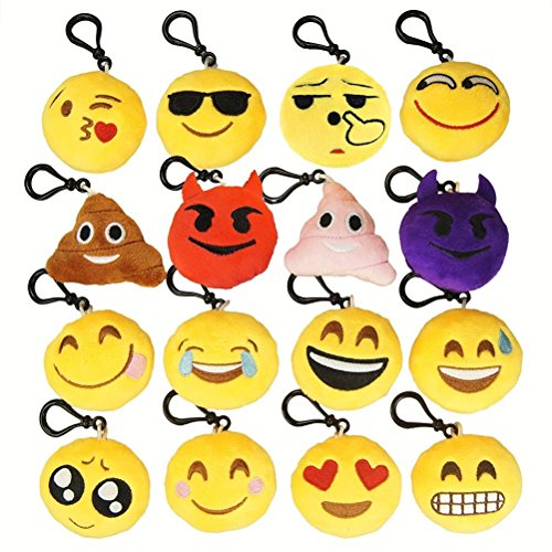NIVIY Cute Emoji Faces Emoji Emoticon Mini Plush Pillows Keychain/Bag Decorations Party Favor for Boys&Girls Great Gift for Kids, 2