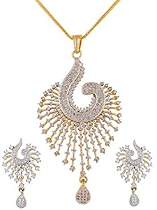 Swasti Peacock Shaped Zircon CZ Fashion Jewelry Set Pendant Earrings With Chain