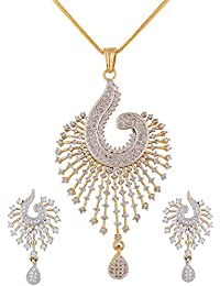 Swasti Peacock Shaped Zircon CZ Fashion Jewelry Set Pendant Earrings With Chain for Women