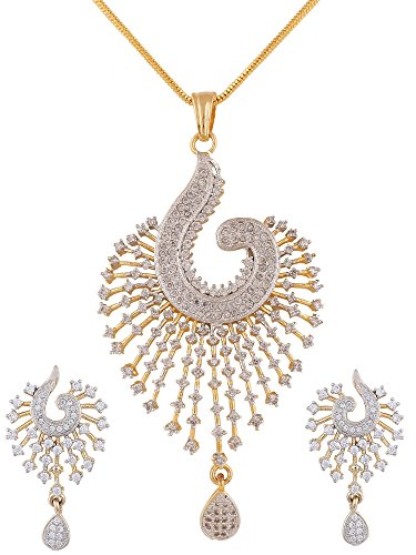 Shaped Fashion Jewelry (Swasti Peacock Shaped Zircon CZ Fashion Jewelry Set Pendant Earrings With Chain 2.5 INCHES)