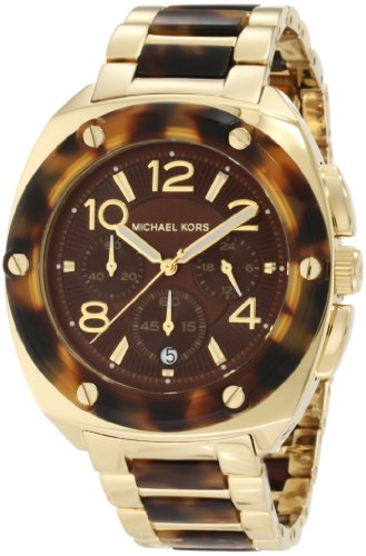 Michael Kors Tribeca Tortoise Acetate and Stainless Steel Brown Dial - Gold Blue Face With Kors Michael