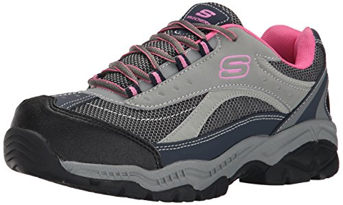 Skechers for Work Women's Doyline Hiker Boot, Gray Pink, 8 M US Womens Steel Toe Safety Shoes
