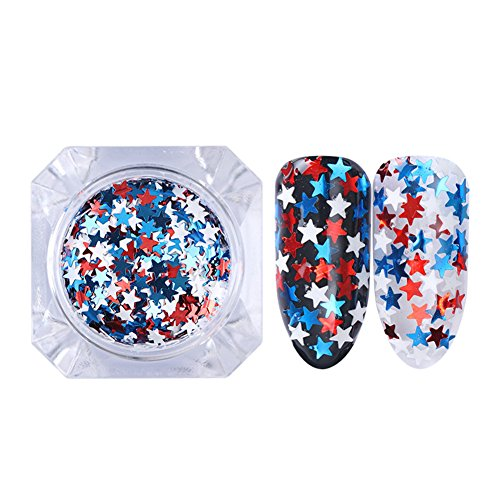 BORN PRETTY 1.2g Glitter Star Nail Sequins Flakies Blue Red White Nail Art -