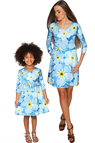 PINEAPPLE CLOTHING Forget-Me-Not Gloria Empire Waist Floral Mother and Daughter Dresses by PineappleClothing
