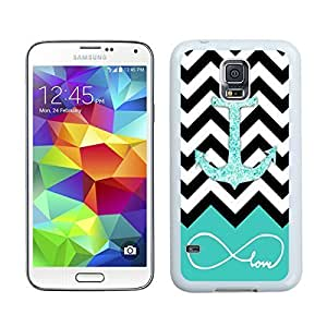 Custom TPU Phone Case for Samsung Galaxy S5 Glitter Anchor Durable Soft Rubber Silicone S5 White Cover