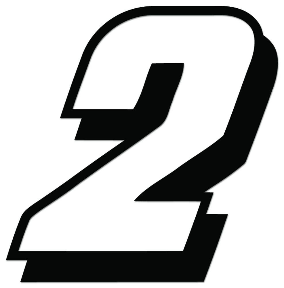 Racing number 2 nascar indy go kart style16 vinyl decal sticker for vehicle car truck window bumper wall decor 12 inch 30 cm tall gloss white color