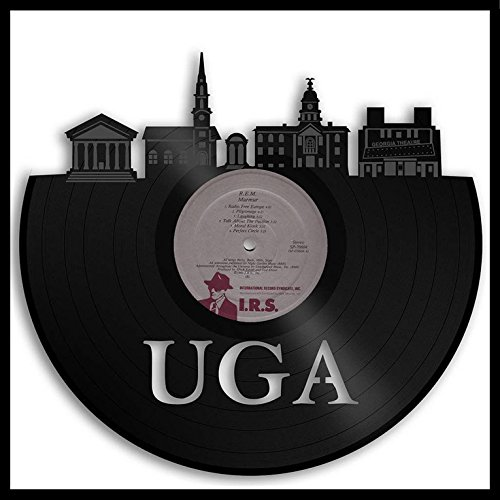 VinylShopUS - UGA Vinyl Wall Art Framed Georgia Bulldogs Athens Skyline Record | Decorative Design Buildings Unique Gift | Home Room ()