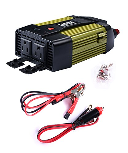 Etl Approved  Erayak 300W Car Power Inverter Dual Us Outlets 2 1A Usb Ports W  Car Cigarette Lighter Cable   Alligator Clips Cable Dc12v To Ac110v For Laptops Dvd Player Cell Phones Tablets 8125U