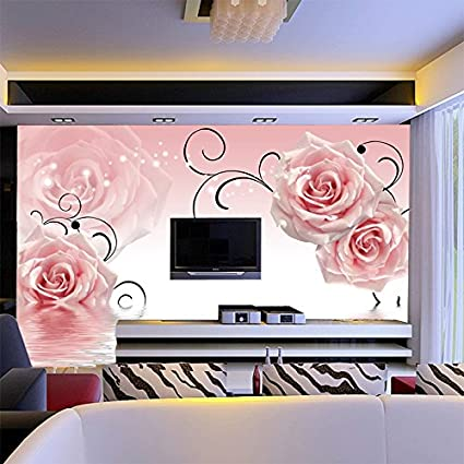LHDLily 3D Pink Rose Mural Theme Hotel Sofa Tv Living Room Backdrop ...