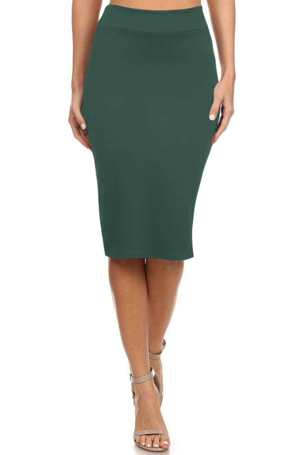 Simlu Women's Below The Knee Pencil Skirt for Office Wear - Made in USA Dark Green Small