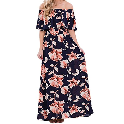 (VIGVOG Women's Boho Floral Print Off Shoulder Maxi Casual Dress with Short Sleeves, Navyblue, X-Large)