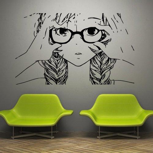 Wall-Decal-Anime-Japan-Movie-Cartoon-Tears-Sorrow-Glasses-Braid-M859