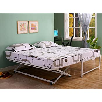this item twin size steel day bed daybed frame with pop up trundle u0026 mattresses