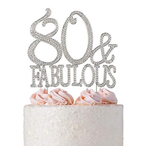 80 & Fabulous Rhinestone Cake Topper | Premium Bling Sparkly Crystal Diamond Gems | 80th Birthday Decoration Ideas | Perfect Keepsake (80&Fab -