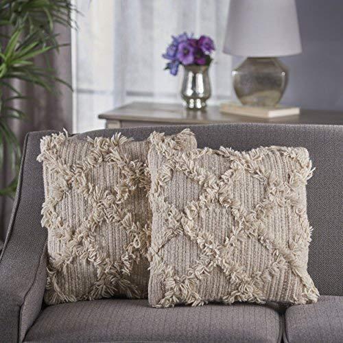 Christopher Knight Home Jucar Iovry Wool Pillows (Set of 2) [並行輸入品] B07R97K46F
