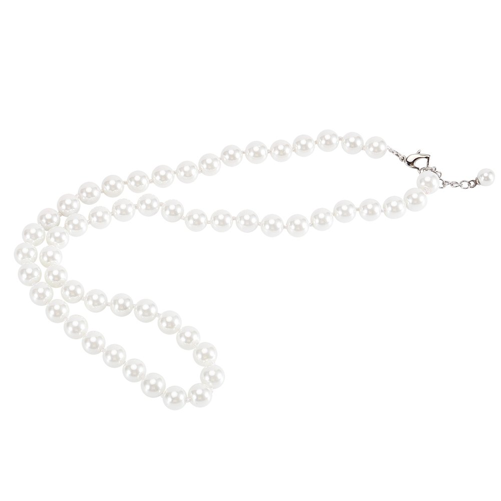 LEILE Hand Knotted Glass Imitation Pearls Necklace Bracelet Ear Studs 3 Piece Suit (White,8MM,20inch) by LEILE (Image #3)