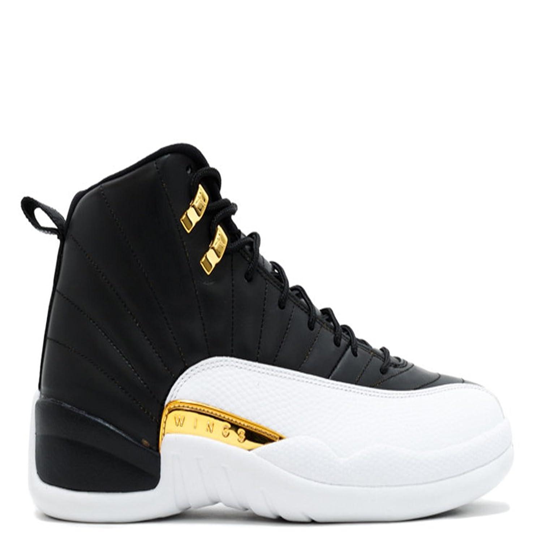 air jordan 12 retro wings black white metallic gold basketball shoes