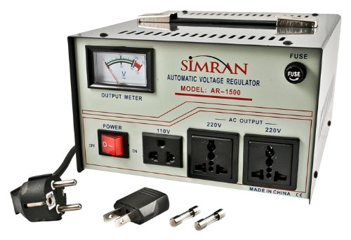 Simran AR-1500 1500-Watt Heavy Duty Voltage Regulator/Stabilizer with Built-In Step Up/Down Voltage Transformer, Grey