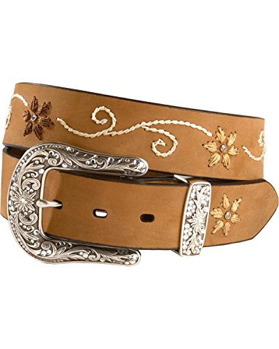 Nocona Ladies Brown Belt (Nocona Women's Floral Stitched Leather Belt Brown)