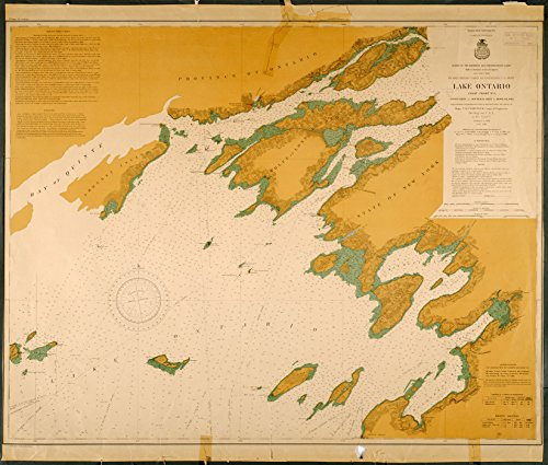 Stony Bay (18 x 24 Canvas 1878 New York old nautical map drawing chart of LAKE ONTARIO STONY POINT AND SOUTH BAY POINT TO HOWE ISLAND From Lake Survey x7075)