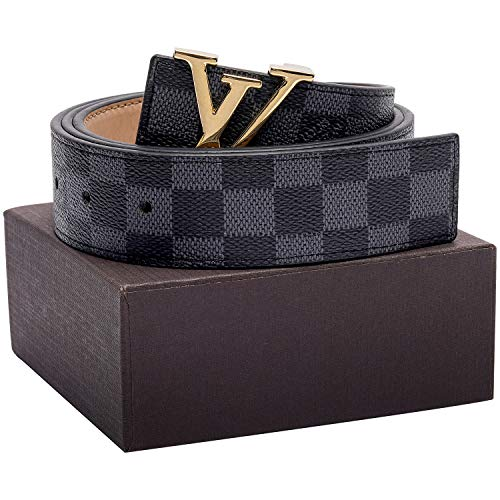 Gucci Louis Vuitton - Gold/Silver/Black Buckle Black Leather Unisex Fashion Belt for Men or Women Pants Jeans Shorts ~ 3.8cm Belt Width