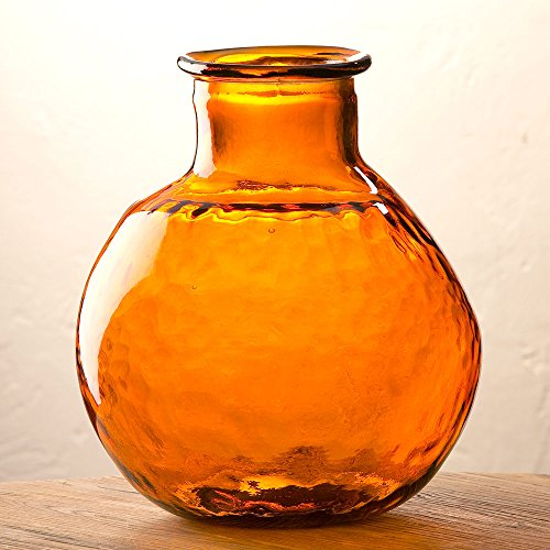 Orange Oval Recycled Glass Balloon Vase, 12'' by Vivaterra