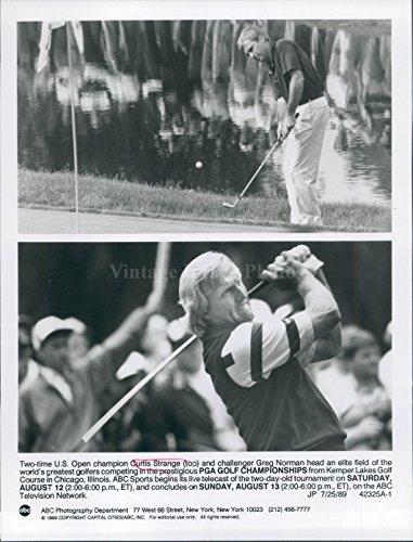 1989 Photo Curtis Strange Champion Golf Tournament Greg Norman WirePhoto