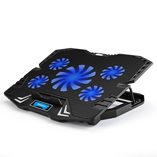 TekHome 5-Fan 12-15.6 inch Laptop Cooling Pad, Best Gaming Cooler for Notebooks Like Alienware, MacBook Air, LED Blue Light, 5 Adjustable Heights, Steel Bracket, 2 USB Ports.(LTC002)