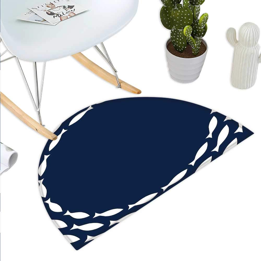 color08 H 15.7  xD 23.6  Navy bluee Semicircle Doormat Oriental Retro Round Entangled Ring Shapes Chain Pattern Antique Classical Halfmoon doormats H 27.5  xD 41.3  Navy bluee Beige