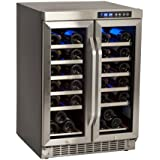 EdgeStar 36 Bottle Built-In Dual Zone French Door Wine Cooler - Black/Stainless Steel