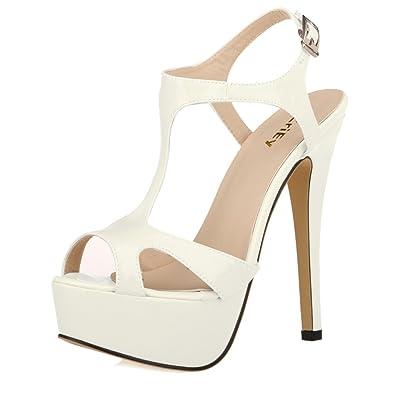 0fcf7d3a4e8fe ZriEy Women's Ladies Peep Toe High Heels T-Strap Enjoyable Platform Sandals  Beige Size 6.5