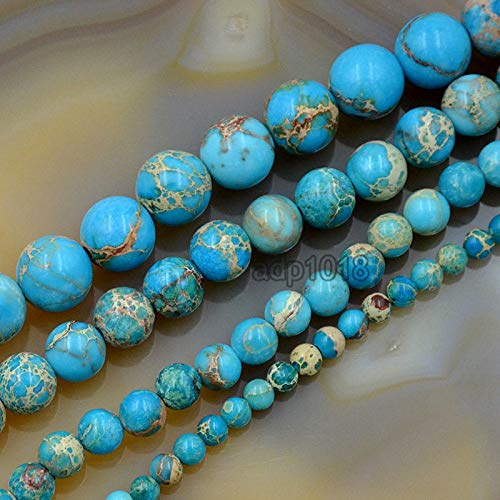 AD Beads Natural Sea Sediment Jasper Gemstone Round Beads 16'' 4mm - 12mm (4mm, Turquoise Blue)
