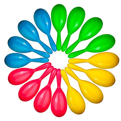 Neliblu Add Life to The Party, 24 Neon Maracas, Bright and Colorful Party Favors, Noisemaker for New Years Party, Neon Maracas - for Mexican Fiesta, or Classroom Musical Instrument, 1 Dozen Pairs -