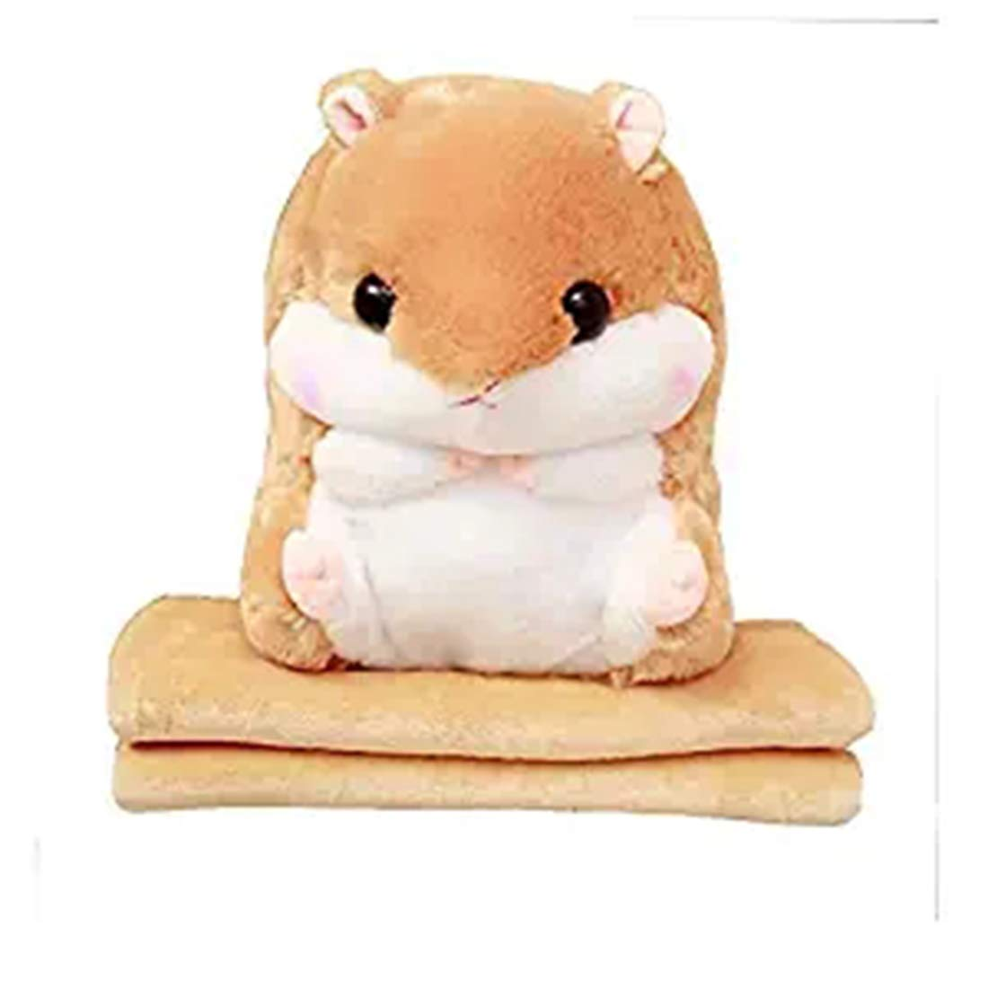 Cute Hamster Pillow 3 in 1 Hamster Plush Stuffed Animal Toys Throw Pillow Blanket Set,Car Pillow Dual Use Large Coral Fleece Blanket,39x 67 Inch,Lightbrown