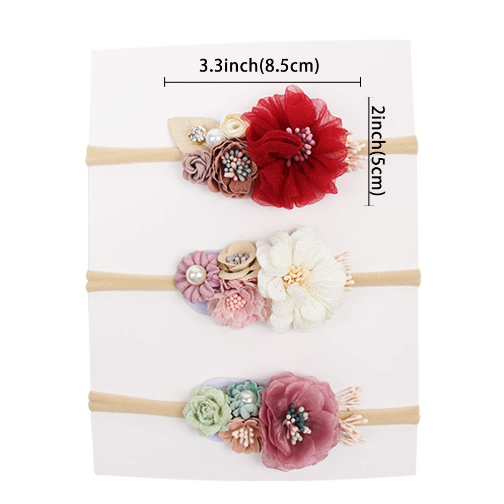 CN Baby Girls Floral Headbands Nylon Flowers Crown Hair Bow Elastic Bands For Newborn Infant Toddlers Kids Pack of 3