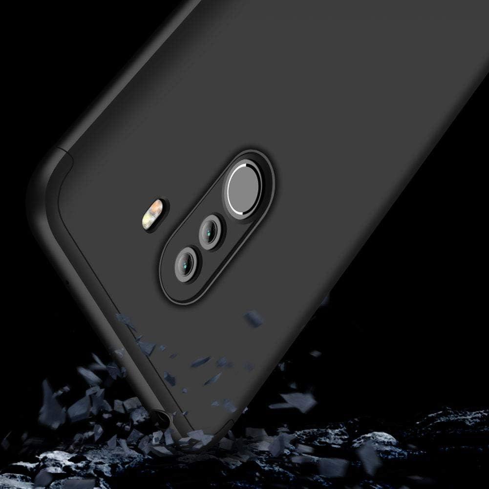 sigua Funda Pocophone F1 Compatible para Xiaomi Pocophone F1 Fundas con 2X Cristal Templado 3 in 1 Slim Fit Caso Carcasa 360 /°de Protectora A Prueba de Golpes Anti-Huella Digital-Azul